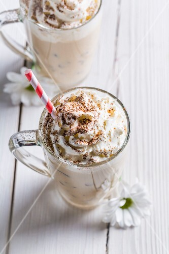 Cold coffee with whipped cream
