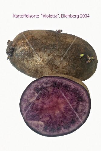 Purple potatoes, whole and halved