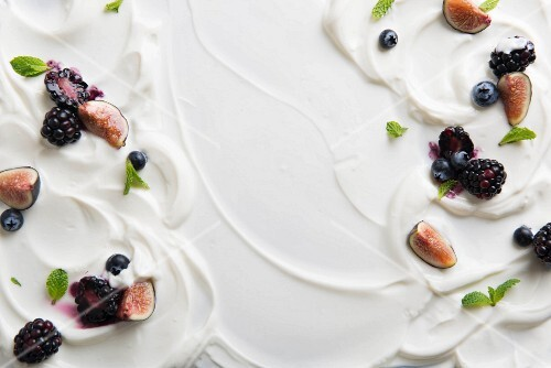 Yoghurt with fresh fruit (full frame)
