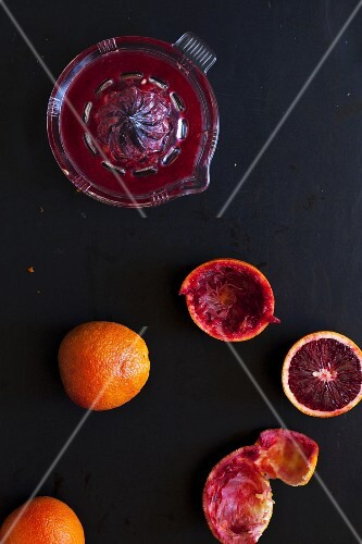 Juiced blood oranges (seen from above)