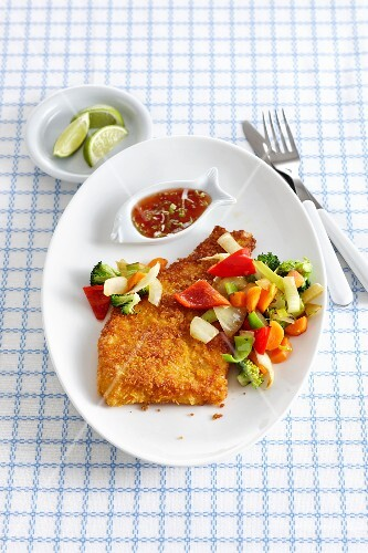Baked cod with a cornflake coating