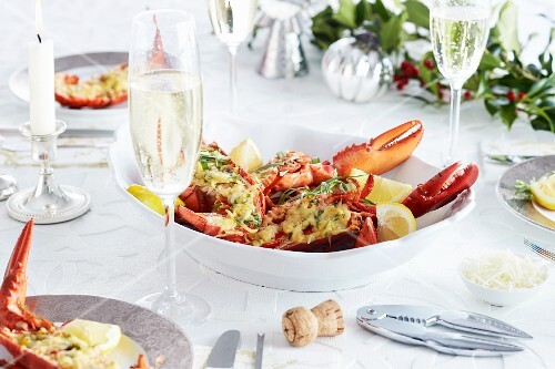 Gratinated lobster with Parmesan cheese