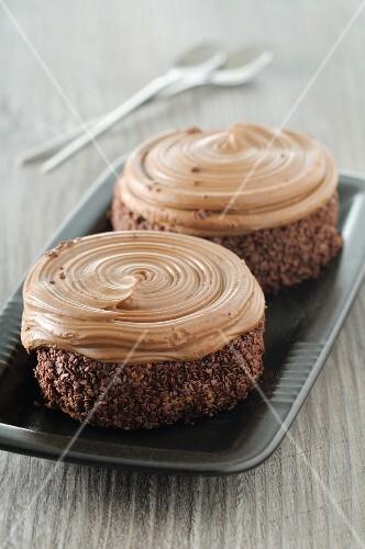 Chocolate cakes with mocha cream