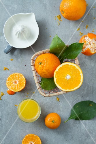 An arrangement of oranges, mandarins, a juicer and a glass of juice (seen from above)