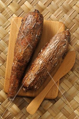 Cassava on a wooden board