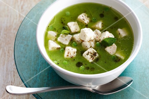 Pea soup with feta cheese