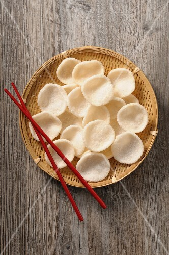 Prawn crackers in a bamboo basket