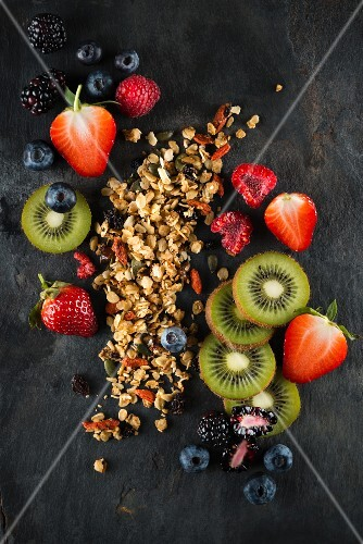 Cereals and various fruits of dark surface