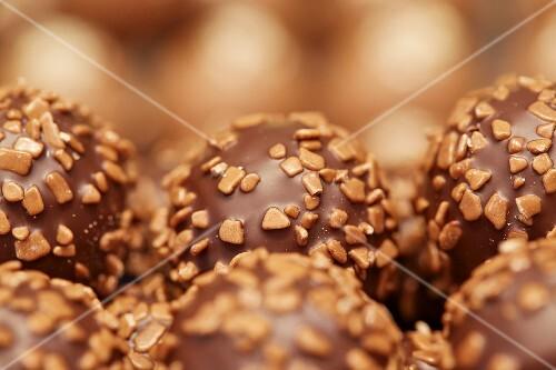 Chocolate pralines (close-up)