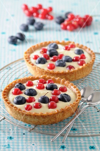 Blueberry and redcurrant tartlets