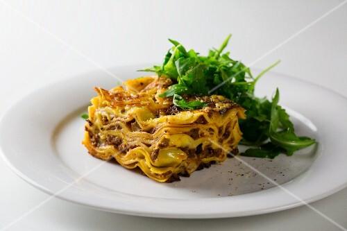 Lasagne with a rocket salad