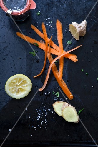 Carrot peelings, ginger and a juiced lemon
