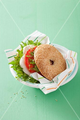 A bagel with tomato and mozzarella