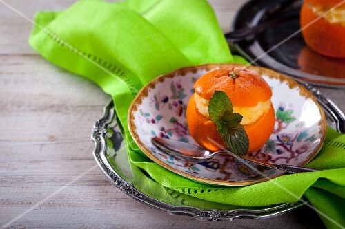 Mandarin sorbet served in a hollowed out orange