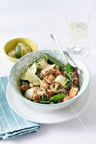 Oriental-style salmon with vegetables and noodles