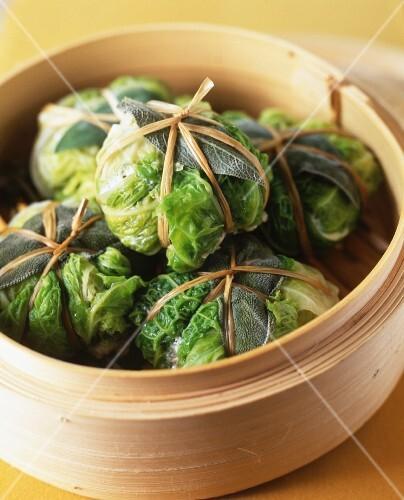Steam savoy cabbage parcels with sage