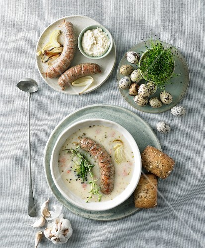 White borscht with white Polish sausage