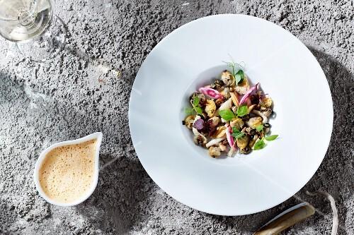 Seafood salad with herbs