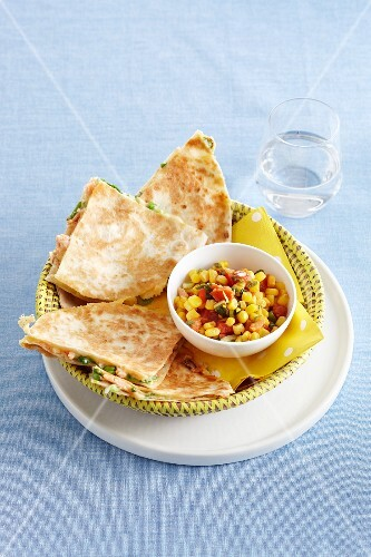 Salmon-filled tortillas with a sweetcorn salad