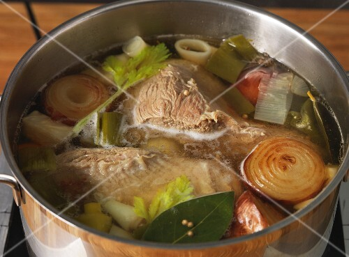 Boiled beef simmering in a pot