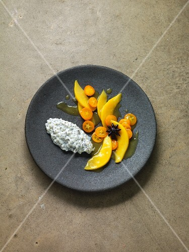 Sous-vide quince compote with kumquats and poppyseed rice pudding
