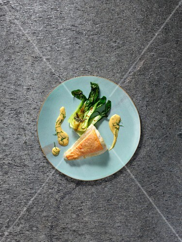 Sous-vide turbot with lobster and bok choy