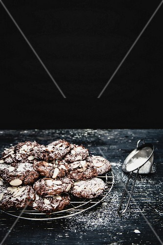 Flourless chocolate and almond cookies dusted with icing sugar