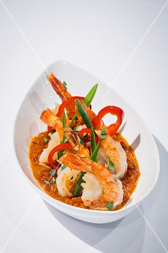 Udang Blado (Indonesian dish with king prawns in chilli sauce)