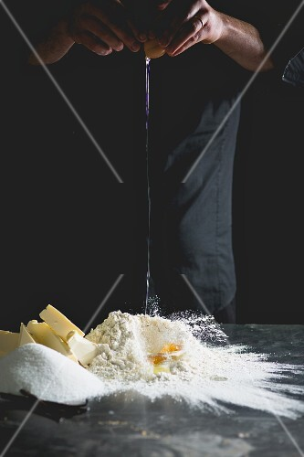 Shortcrust pastry being made