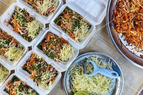 Plastic boxes of Pad Thai noodles, Thailand