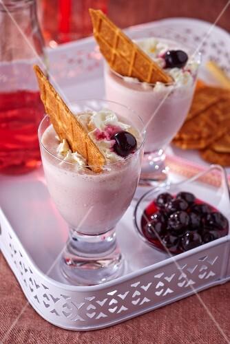 Milkshakes with amarena cherries and wafers