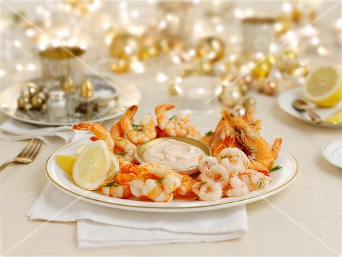Prawns with a dip for Christmas