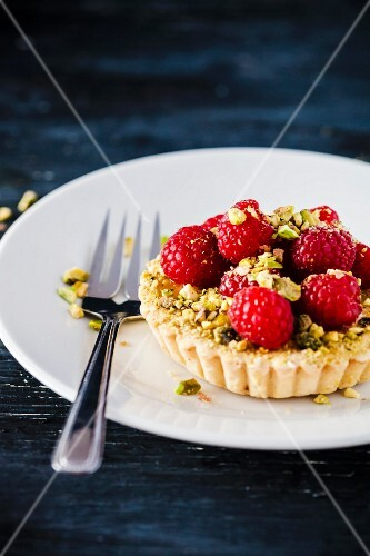 Raspberry Montebello Tart with Pistachio Dacquoise and Pistachio Mousseline