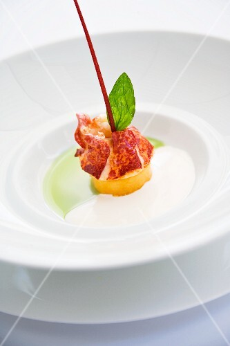 Brittany lobster with Charentais melon and basil oil