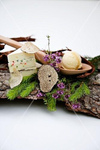 Stuffed sheep's camembert, Tecino truffles and chicory ice cream