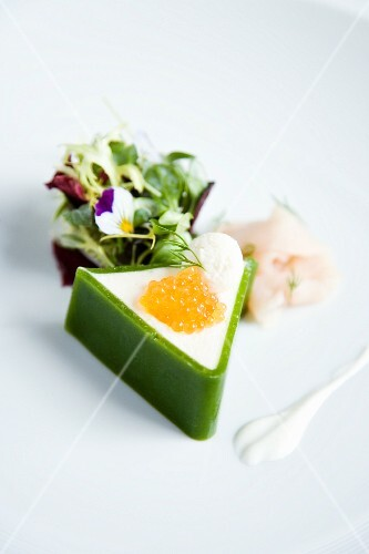 Char mousse wrapped in leek with char caviar