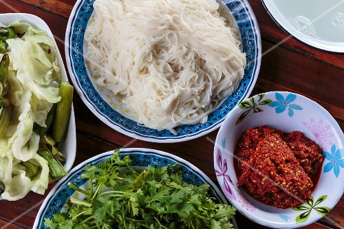 Fermented rice noodles, chilli paste and coriander