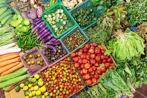 A colourful selection of vegetables at a market in Vientiane, Laos