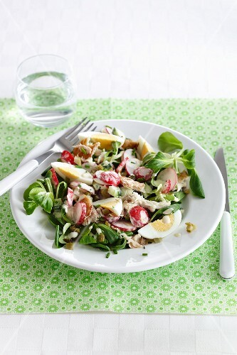 Vegetable salad with mackerel and egg