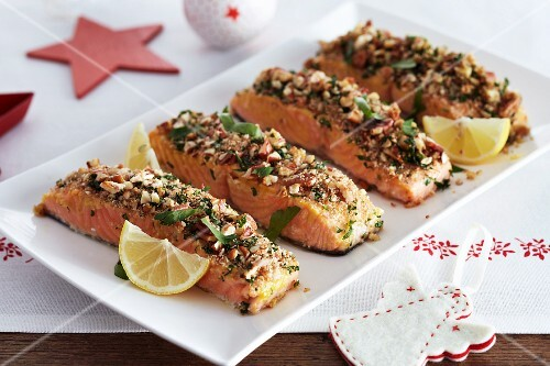 Salmon fillets with a nut crust for Christmas dinner