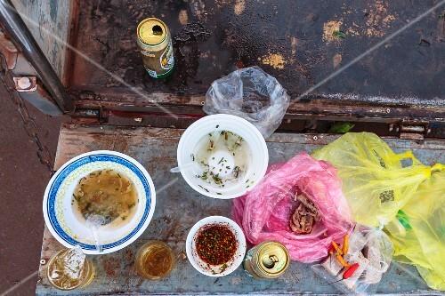 A market worker's breakfast in Vientiane, Laos