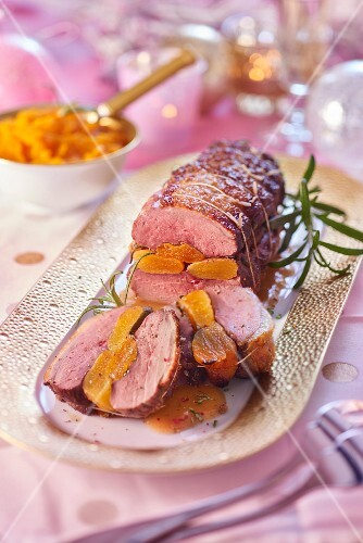 Roasted duck breast with apricots for Christmas