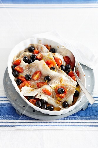 Cod with tomatoes and olives (Italy)