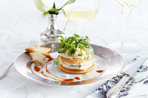 A cheese tartlet with blue Stilton