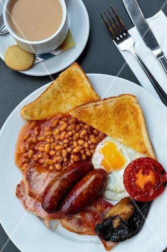 A full English breakfast, Norwich, UK