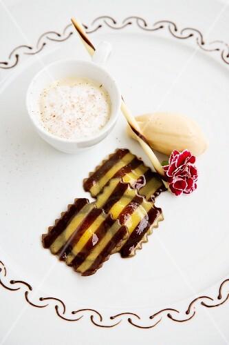 Tonka bean cappuccino with banana ice cream and chocolate and eggnog ravioli