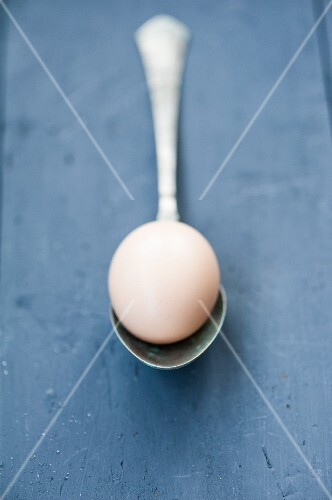 An egg on a vintage spoon