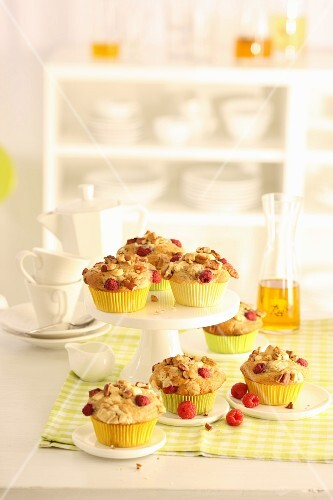 Strawberry muffins with pecan nuts and white chocolate