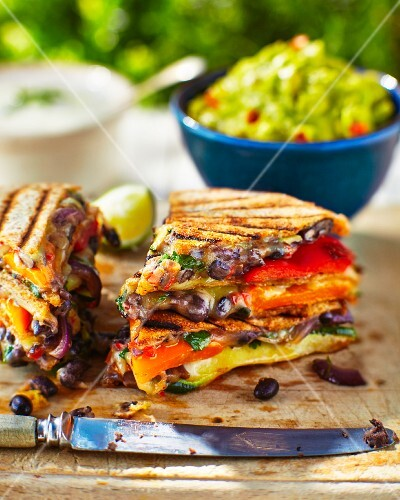 Quesadillas with oven-roasted vegetables, guacamole and sour cream (Mexico)