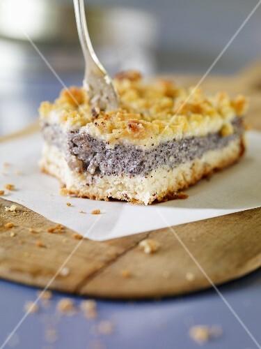 A slice of poppyseed cake
